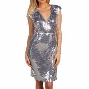 Michael Kors silver sequin wrap dress Sz XXS NWT